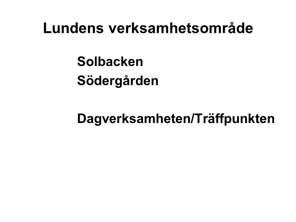 Lundens verksamhetsområde Solbacken Södergården Dagverksamheten/Träffpunkten