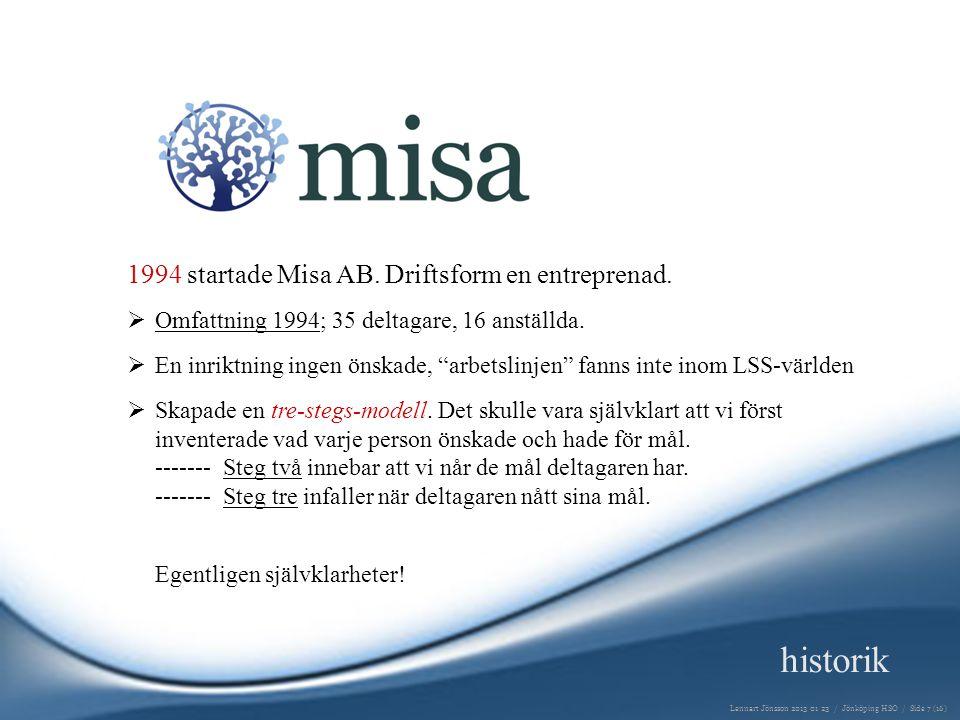 1994 startade Misa AB.Driftsform en entreprenad.  Omfattning 1994; 35 deltagare, 16 anställda.
