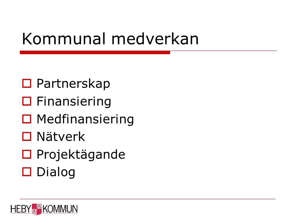 Kommunal medverkan  Partnerskap  Finansiering  Medfinansiering  Nätverk  Projektägande  Dialog