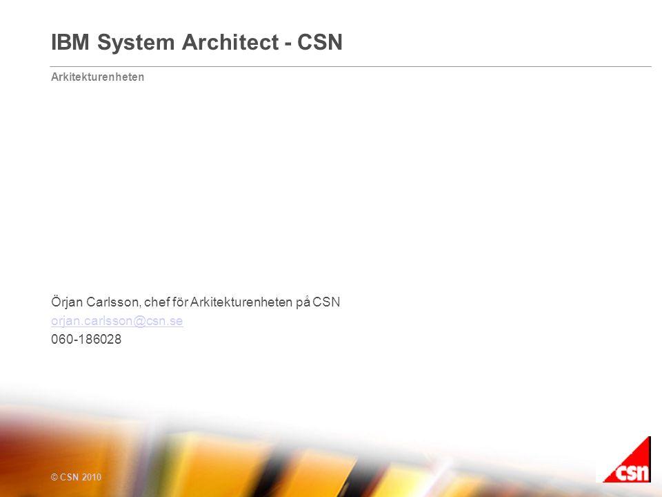 Arkitekturenheten © CSN 2010 IBM System Architect - CSN Örjan Carlsson, chef för Arkitekturenheten på CSN orjan.carlsson@csn.se 060-186028