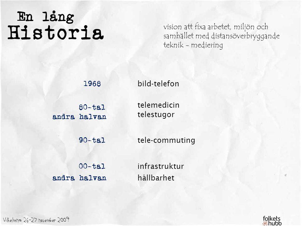 Vilhelmina 26-27 november 2009 En lång Historia 1968 80-tal 90-tal 00-tal andra halvan bild-telefon telemedicin telestugor tele-commuting infrastruktur hållbarhet mycket prat och pengar- men vad blev det - inget försök / ISDN på plats ett tag hem-PC Internet parallella nät kanske dags..