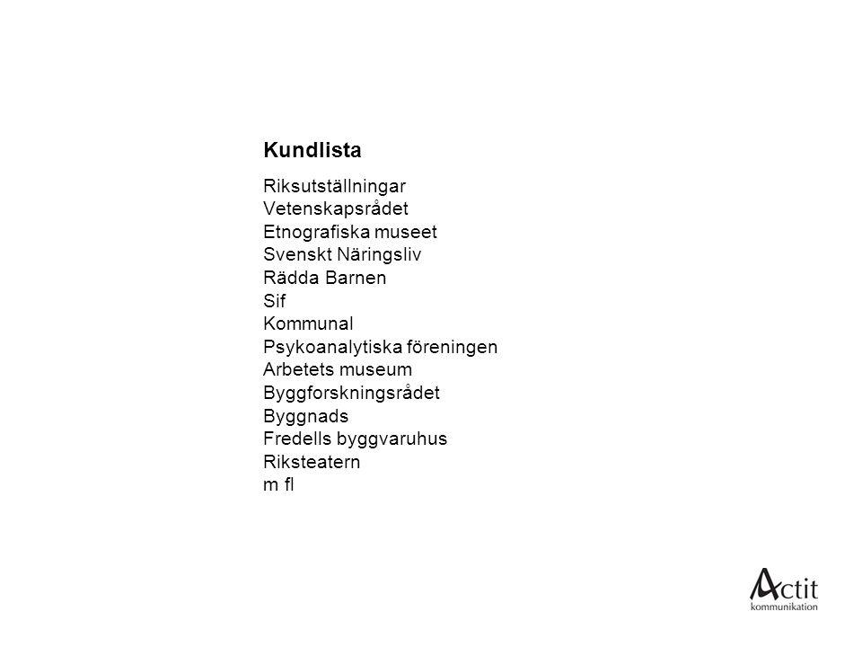 Kundlista Riksutställningar Vetenskapsrådet Etnografiska museet Svenskt Näringsliv Rädda Barnen Sif Kommunal Psykoanalytiska föreningen Arbetets museu
