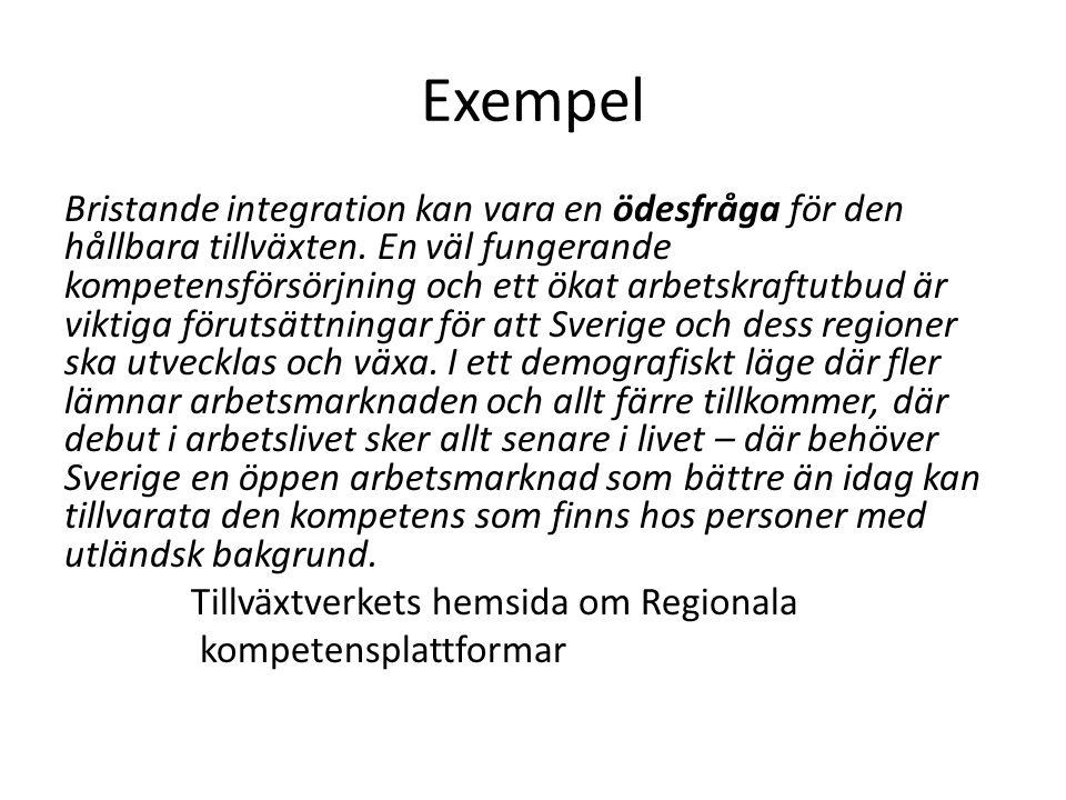 Exempel Integration och mångfald ska i ökad grad främjas inom det regionala tillväxtarbetet.