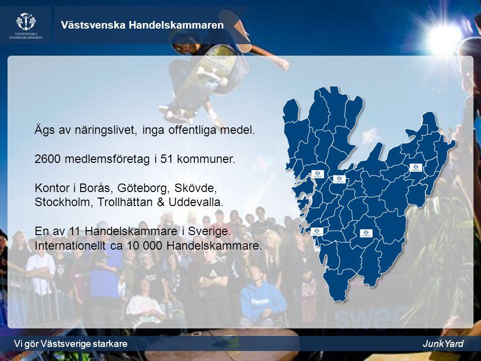 Västsvenska Handelskammaren Vi gör Västsverige starkareJunkYard Ägs av näringslivet, inga offentliga medel.