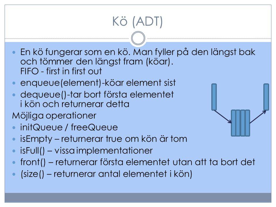 Kö (ADT) En kö fungerar som en kö. Man fyller på den längst bak och tömmer den längst fram (köar). FIFO - first in first out enqueue(element)-köar ele