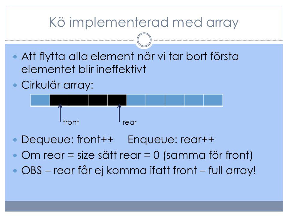 Kö implementerad med länkad lista Med en enkellänkad lista kommer vi att behöva ta oss igenom hela listan varje gång vi ska köa ett element.