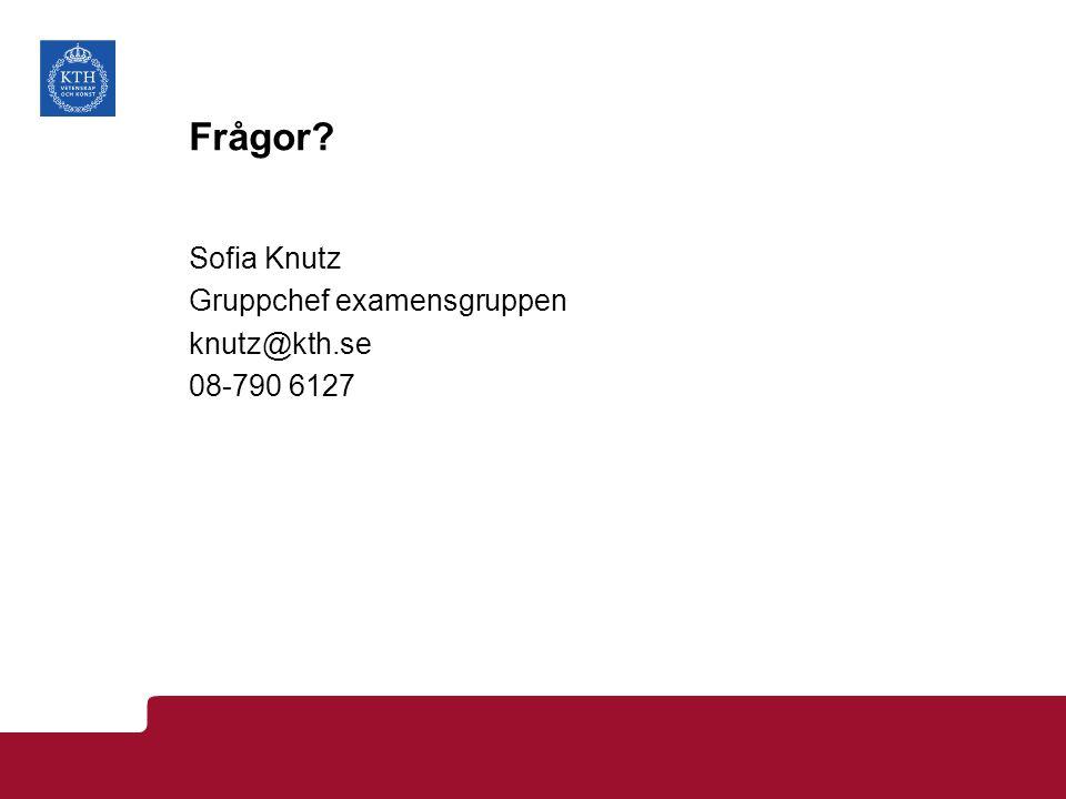 Frågor? Sofia Knutz Gruppchef examensgruppen knutz@kth.se 08-790 6127