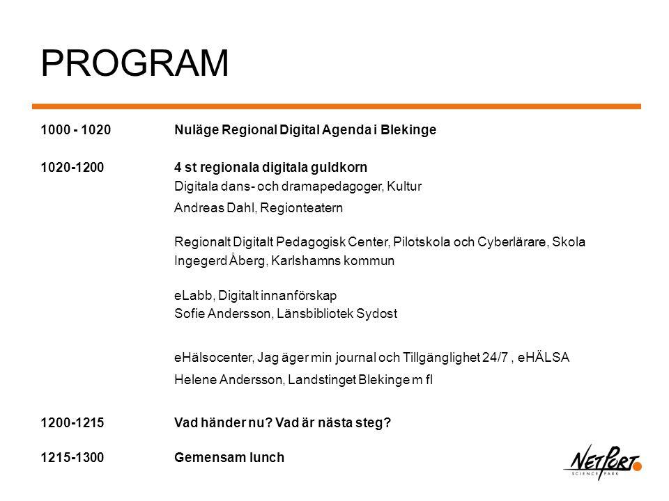 PROGRAM 1000 - 1020 Nuläge Regional Digital Agenda i Blekinge 1020-1200 4 st regionala digitala guldkorn Digitala dans- och dramapedagoger, Kultur And