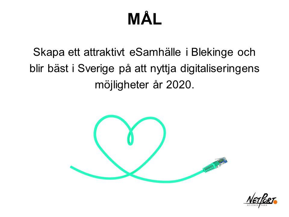 Skapa ett attraktivt eSamhälle i Blekinge och blir bäst i Sverige på att nyttja digitaliseringens möjligheter år 2020. MÅL