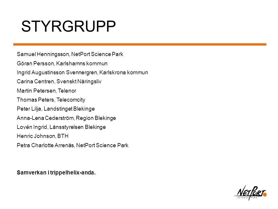 STYRGRUPP Samuel Henningsson, NetPort Science Park Göran Persson, Karlshamns kommun Ingrid Augustinsson Svennergren, Karlskrona kommun Carina Centren,