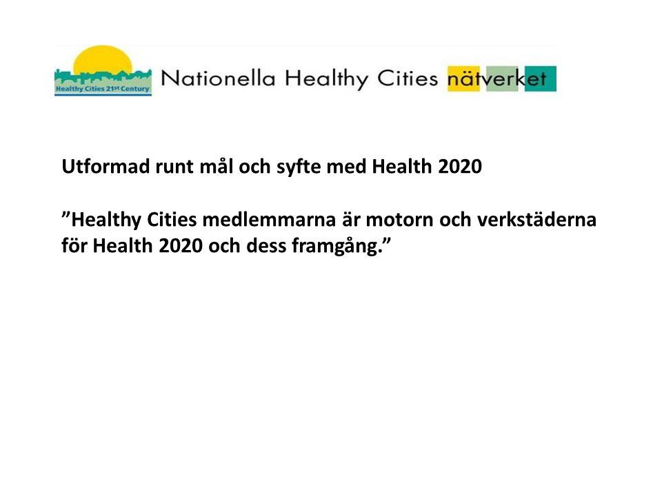 Utformad runt mål och syfte med Health 2020 Healthy Cities medlemmarna är motorn och verkstäderna för Health 2020 och dess framgång.