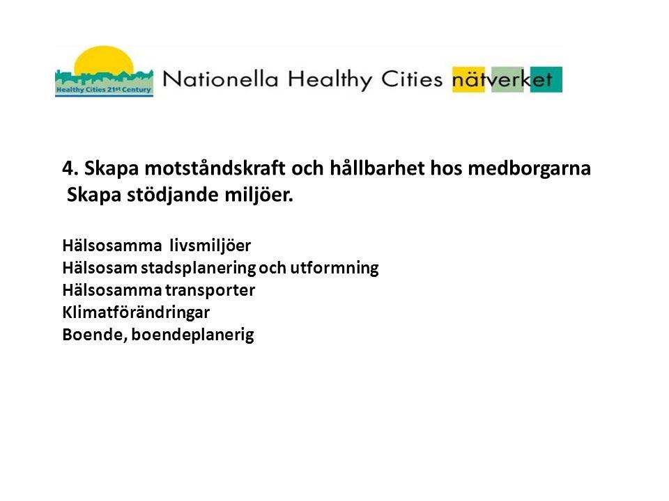 4. Skapa motståndskraft och hållbarhet hos medborgarna Skapa stödjande miljöer.