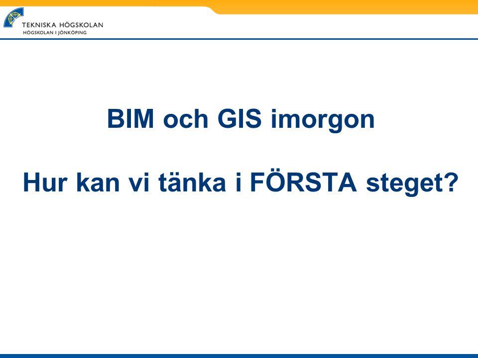 BIM och GIS imorgon Hur kan vi tänka i FÖRSTA steget?