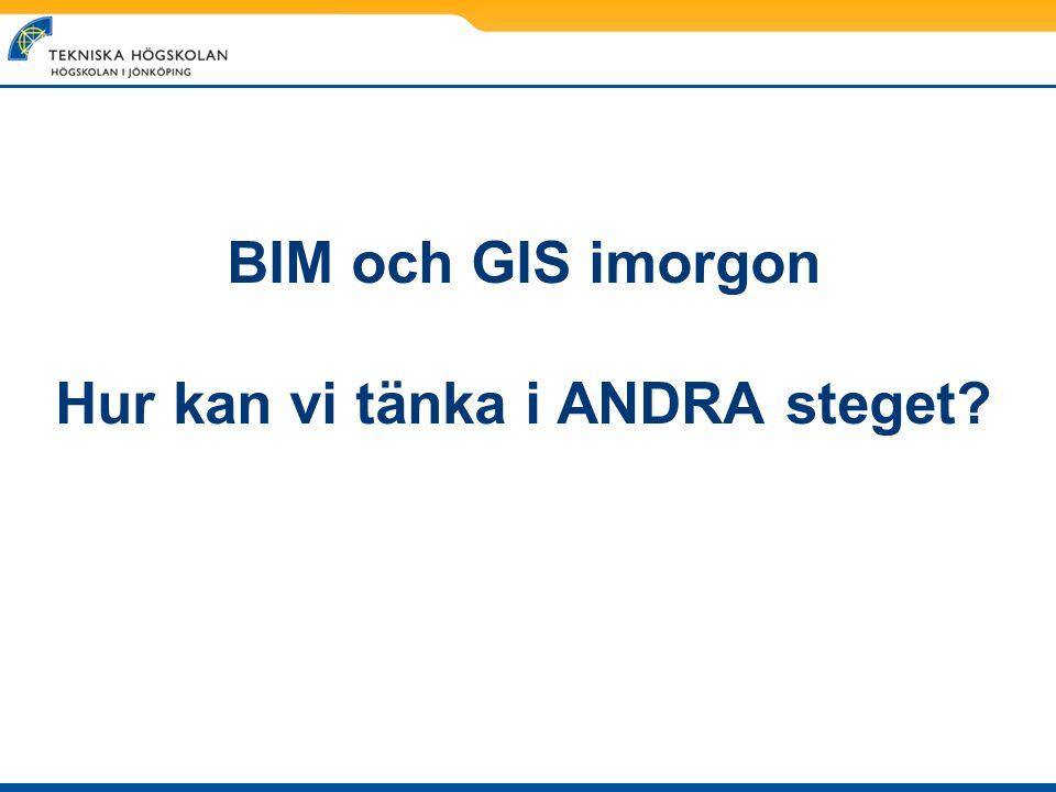BIM och GIS imorgon Hur kan vi tänka i ANDRA steget?