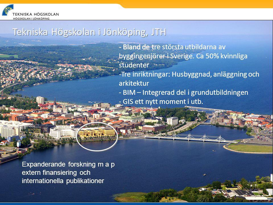 - Bland de t - Bland de tre största utbildarna av byggingenjörer i Sverige. Ca 50% kvinnliga studenter -Tre inriktningar: Husbyggnad, anläggning och a