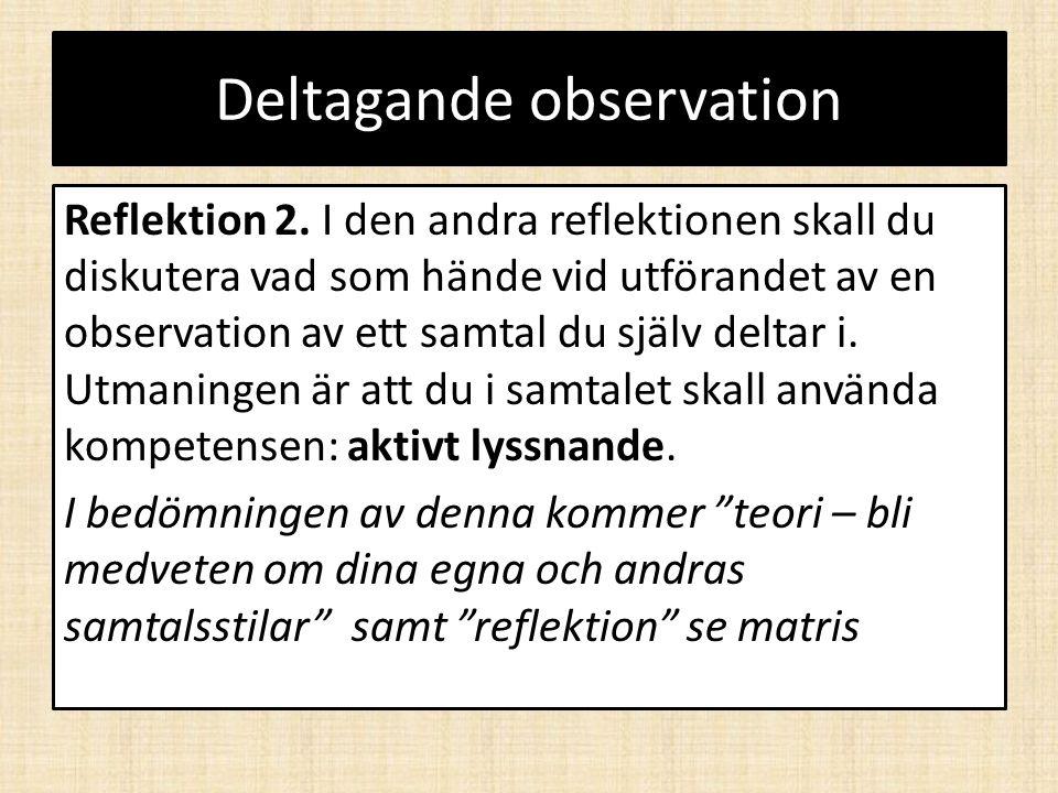 Deltagande observation Reflektion 2. I den andra reflektionen skall du diskutera vad som hände vid utförandet av en observation av ett samtal du själv