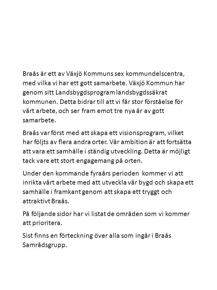Braås är ett av Växjö Kommuns sex kommundelscentra, med vilka vi har ett gott samarbete. Växjö Kommun har genom sitt Landsbygdsprogram landsbygdssäkra