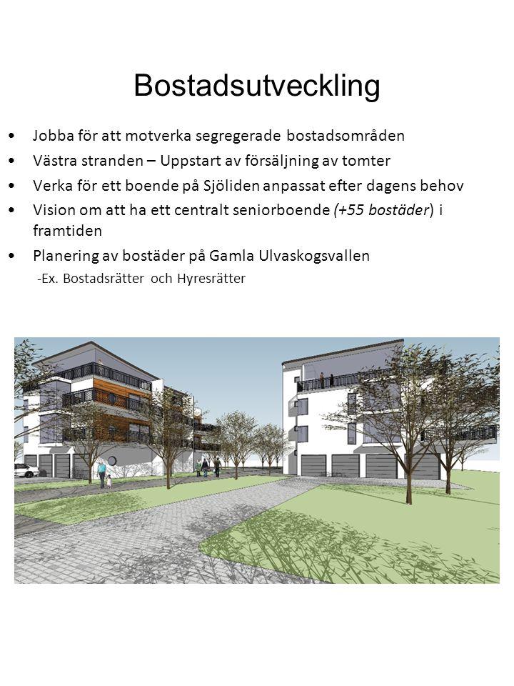 Bostadsutveckling Jobba för att motverka segregerade bostadsområden Västra stranden – Uppstart av försäljning av tomter Verka för ett boende på Sjölid