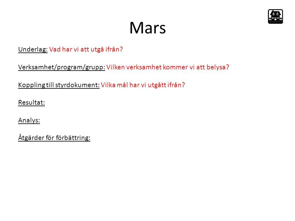 Mars Underlag: Vad har vi att utgå ifrån.