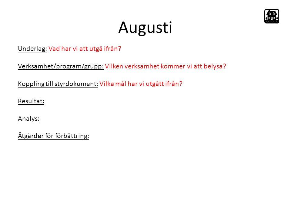 Augusti Underlag: Vad har vi att utgå ifrån.