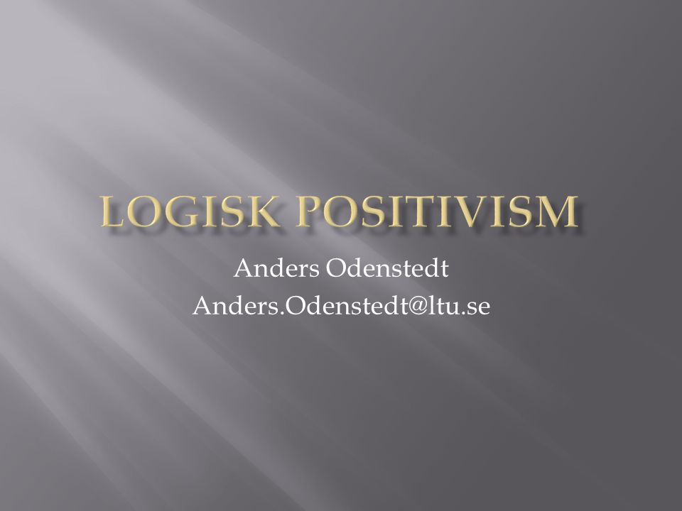 Anders Odenstedt Anders.Odenstedt@ltu.se