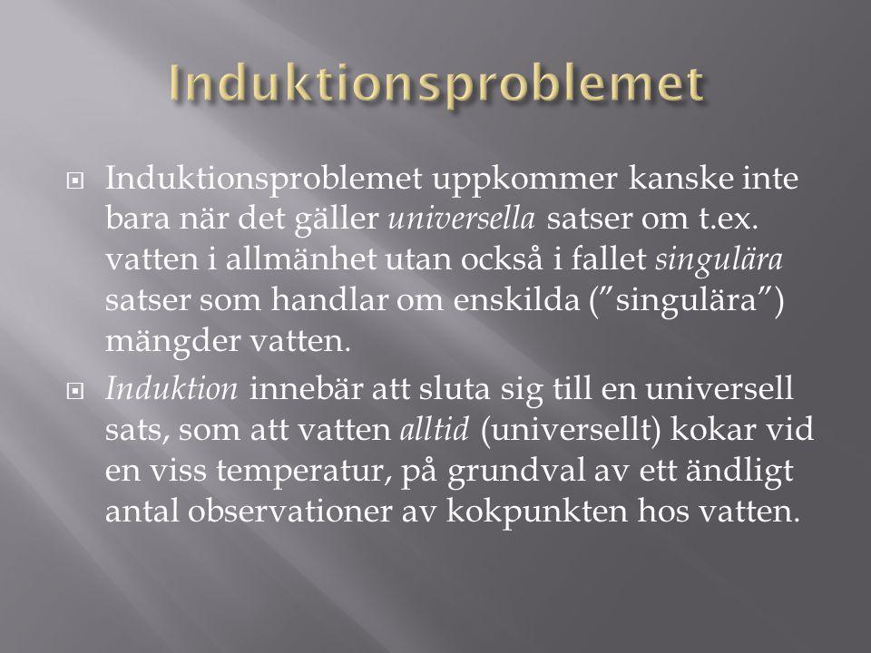  Induktionsproblemet uppkommer kanske inte bara när det gäller universella satser om t.ex.