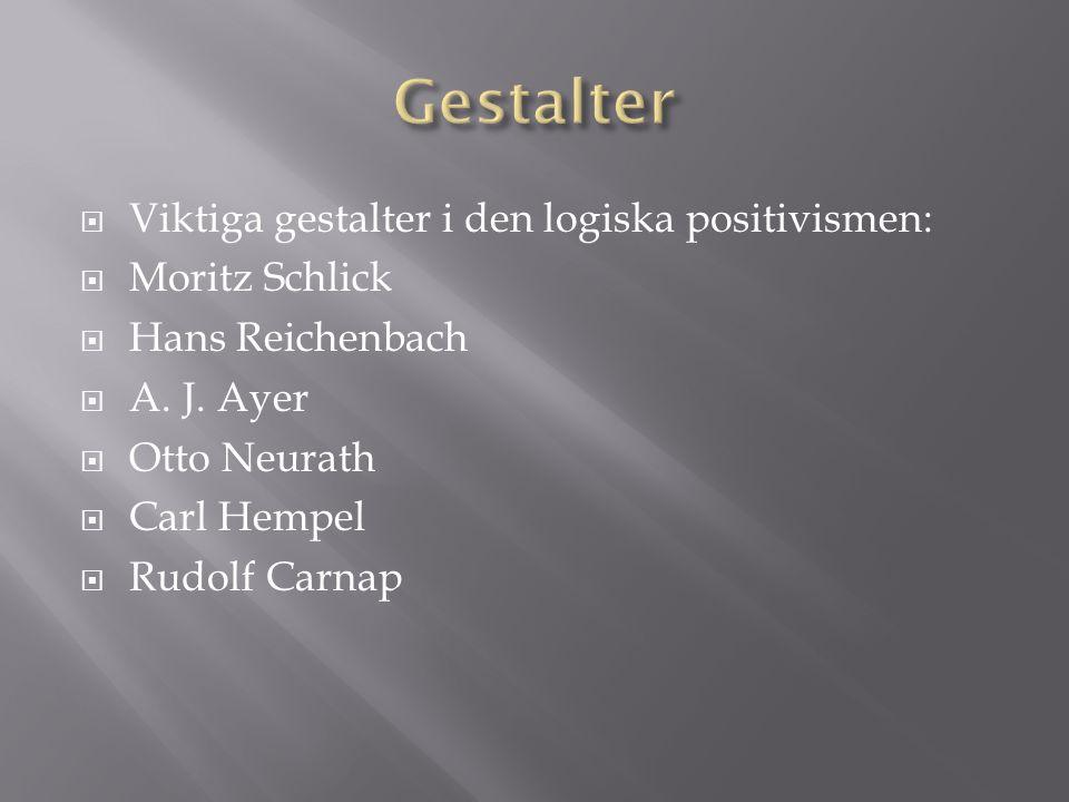  Viktiga gestalter i den logiska positivismen:  Moritz Schlick  Hans Reichenbach  A.