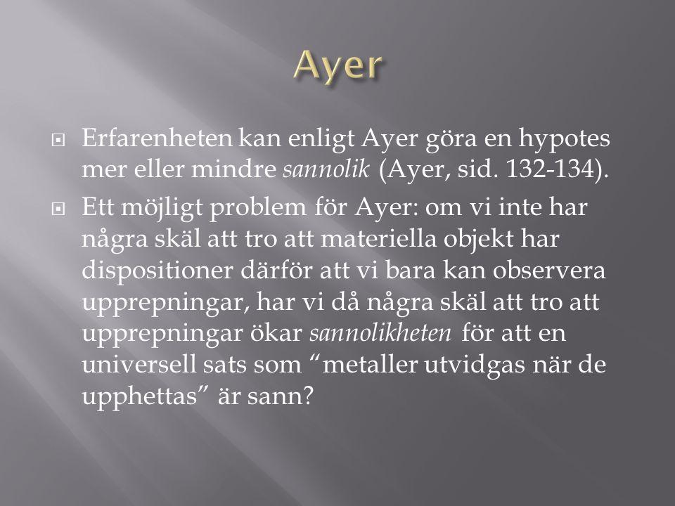  Erfarenheten kan enligt Ayer göra en hypotes mer eller mindre sannolik (Ayer, sid.