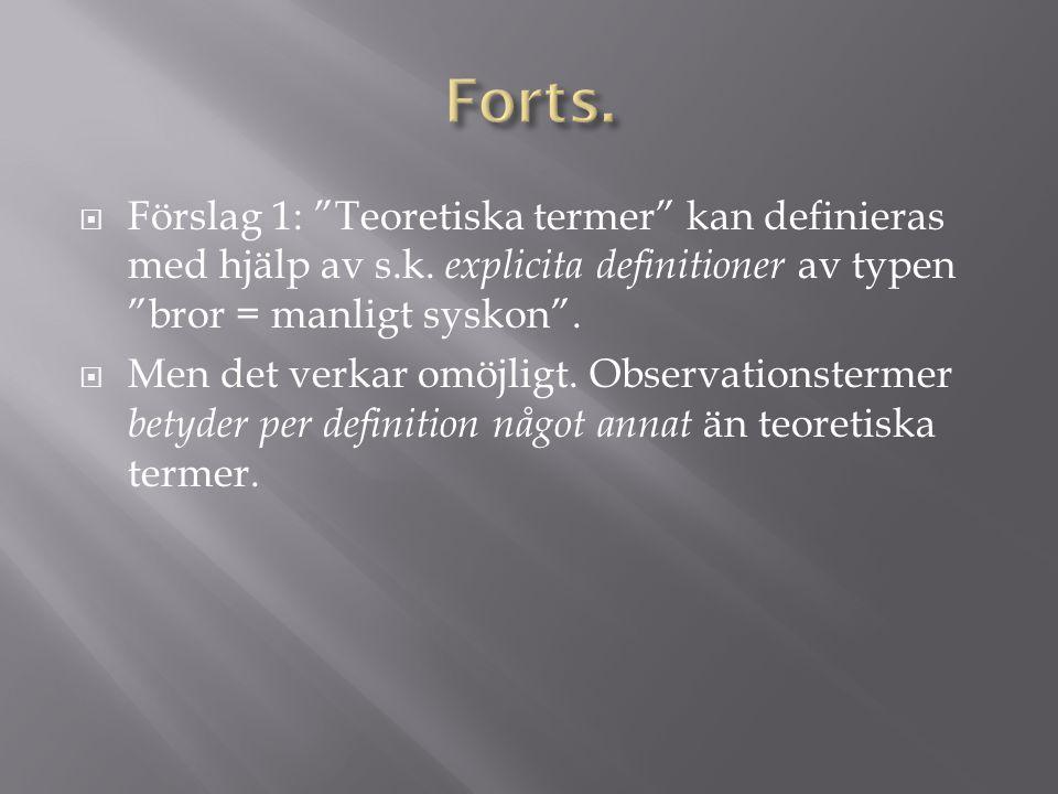  Förslag 1: Teoretiska termer kan definieras med hjälp av s.k.