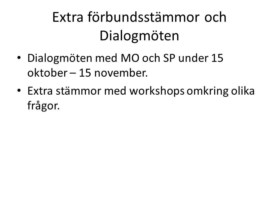 Extra förbundsstämmor och Dialogmöten Dialogmöten med MO och SP under 15 oktober – 15 november.