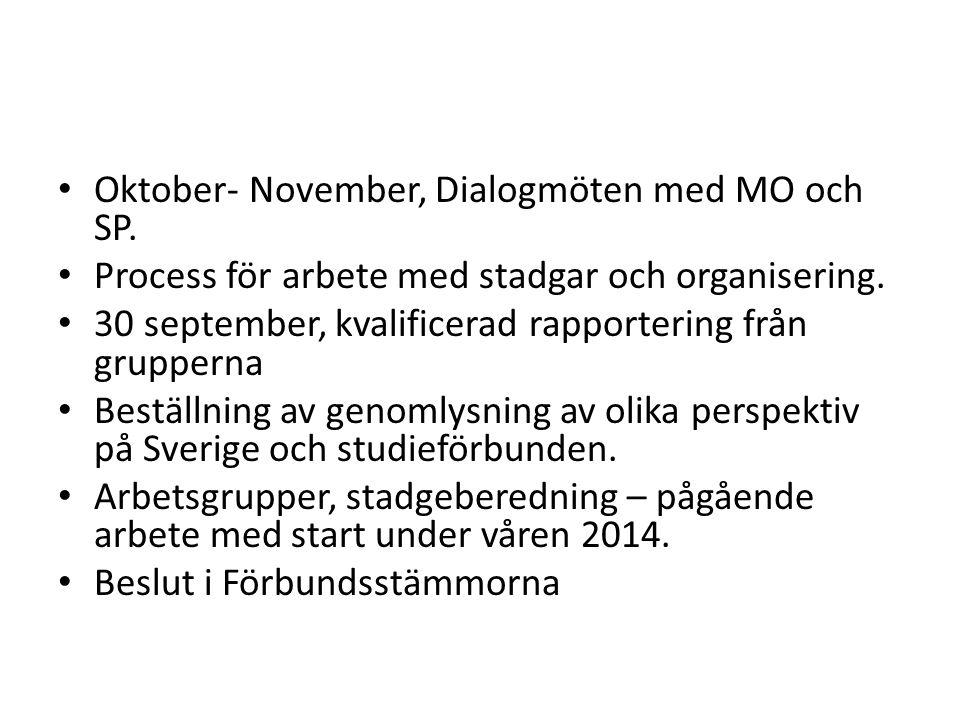 Oktober- November, Dialogmöten med MO och SP. Process för arbete med stadgar och organisering.