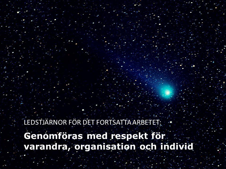 LEDSTJÄRNOR FÖR DET FORTSATTA ARBETET: Genomföras med respekt för varandra, organisation och individ