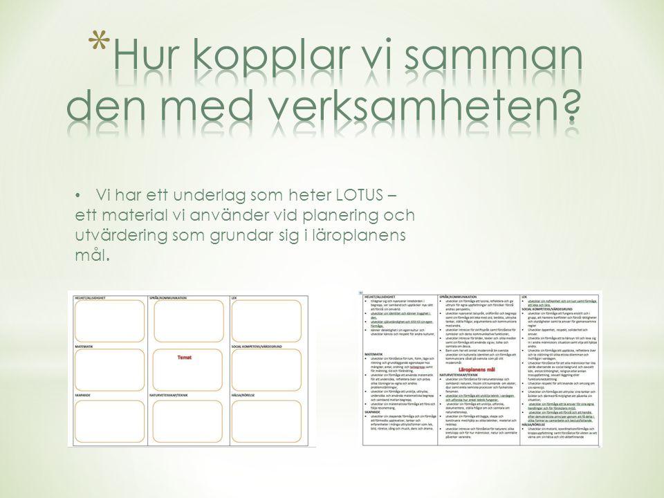 Vi har ett underlag som heter LOTUS – ett material vi använder vid planering och utvärdering som grundar sig i läroplanens mål.
