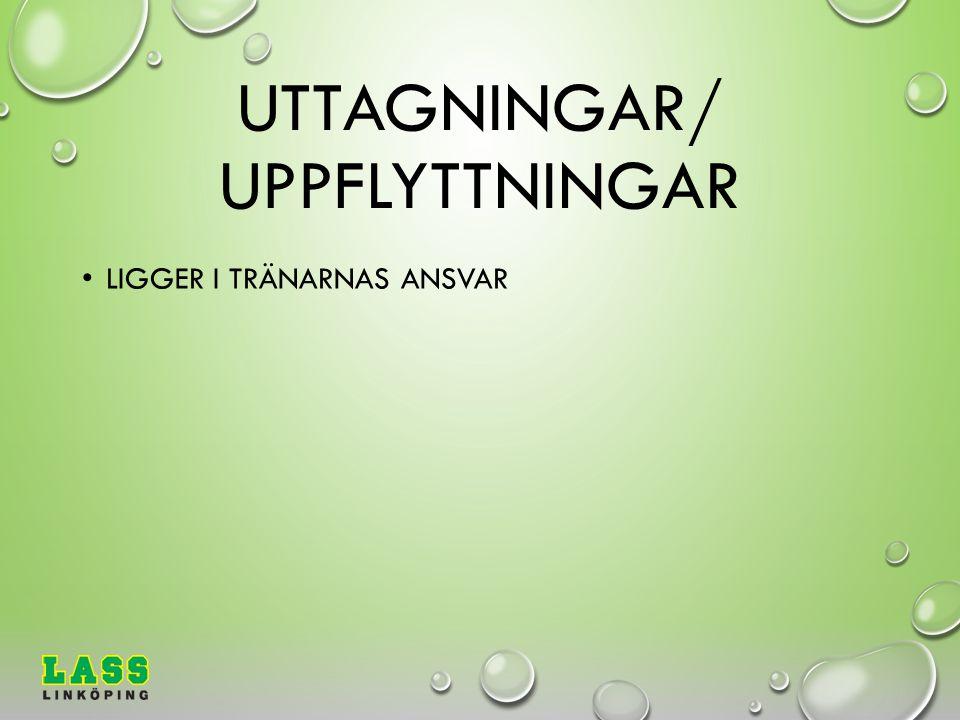 UTTAGNINGAR/ UPPFLYTTNINGAR LIGGER I TRÄNARNAS ANSVAR