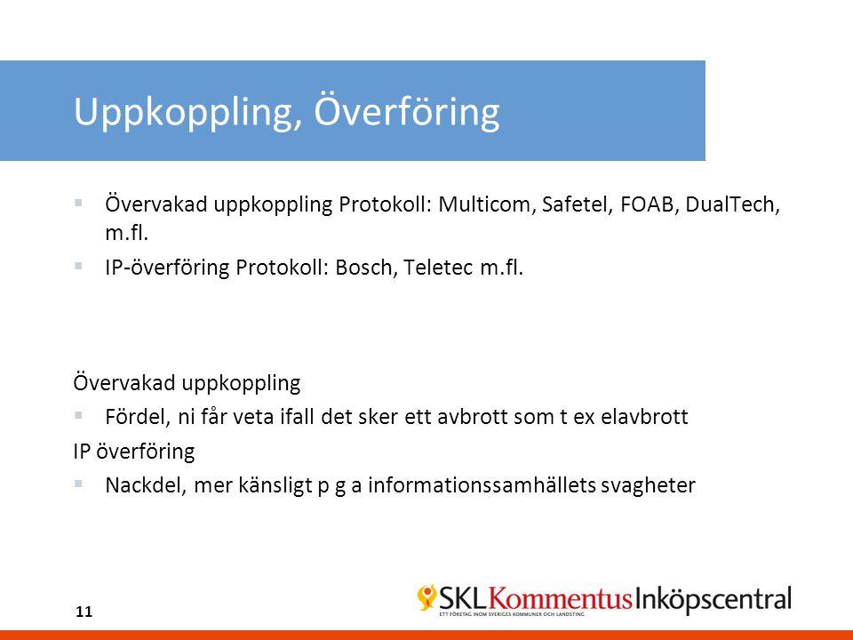 Uppkoppling, Överföring  Övervakad uppkoppling Protokoll: Multicom, Safetel, FOAB, DualTech, m.fl.  IP-överföring Protokoll: Bosch, Teletec m.fl. Öv