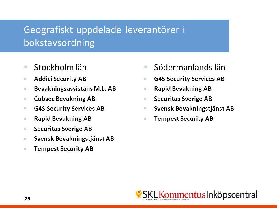 Geografiskt uppdelade leverantörer i bokstavsordning  Stockholm län  Addici Security AB  Bevakningsassistans M.L. AB  Cubsec Bevakning AB  G4S Se