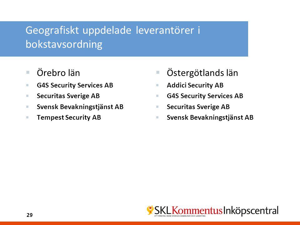 Geografiskt uppdelade leverantörer i bokstavsordning  Örebro län  G4S Security Services AB  Securitas Sverige AB  Svensk Bevakningstjänst AB  Tem