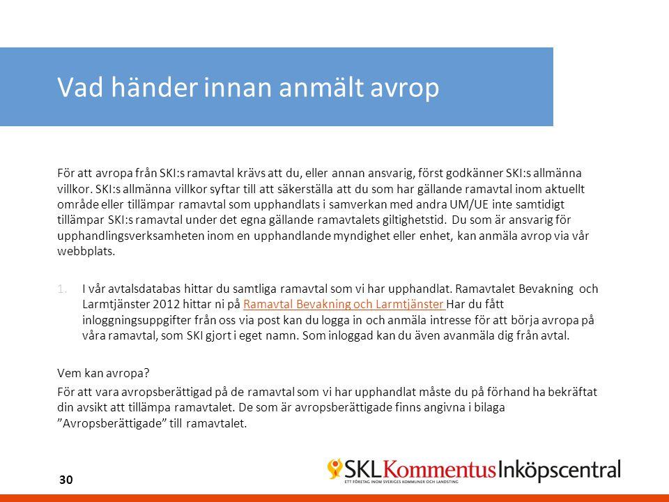 Vad händer innan anmält avrop För att avropa från SKI:s ramavtal krävs att du, eller annan ansvarig, först godkänner SKI:s allmänna villkor. SKI:s all