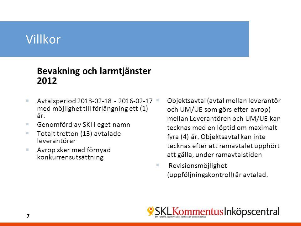 7 Villkor Bevakning och larmtjänster 2012  Avtalsperiod 2013-02-18 - 2016-02-17 med möjlighet till förlängning ett (1) år.  Genomförd av SKI i eget