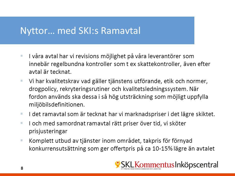 8 Nyttor… med SKI:s Ramavtal  I våra avtal har vi revisions möjlighet på våra leverantörer som innebär regelbundna kontroller som t ex skattekontroll