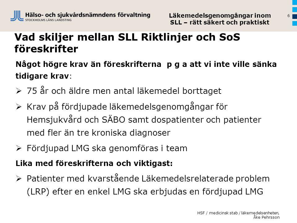 Vad skiljer mellan SLL Riktlinjer och SoS föreskrifter Något högre krav än föreskrifterna p g a att vi inte ville sänka tidigare krav:  75 år och äld