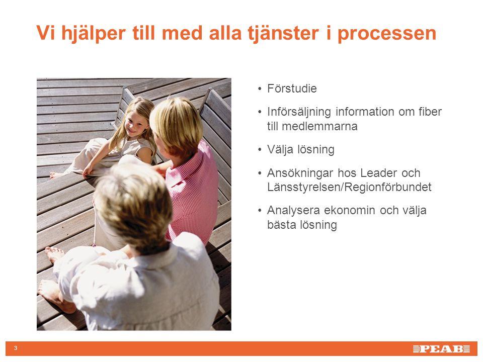 3 Vi hjälper till med alla tjänster i processen Förstudie Införsäljning information om fiber till medlemmarna Välja lösning Ansökningar hos Leader och Länsstyrelsen/Regionförbundet Analysera ekonomin och välja bästa lösning