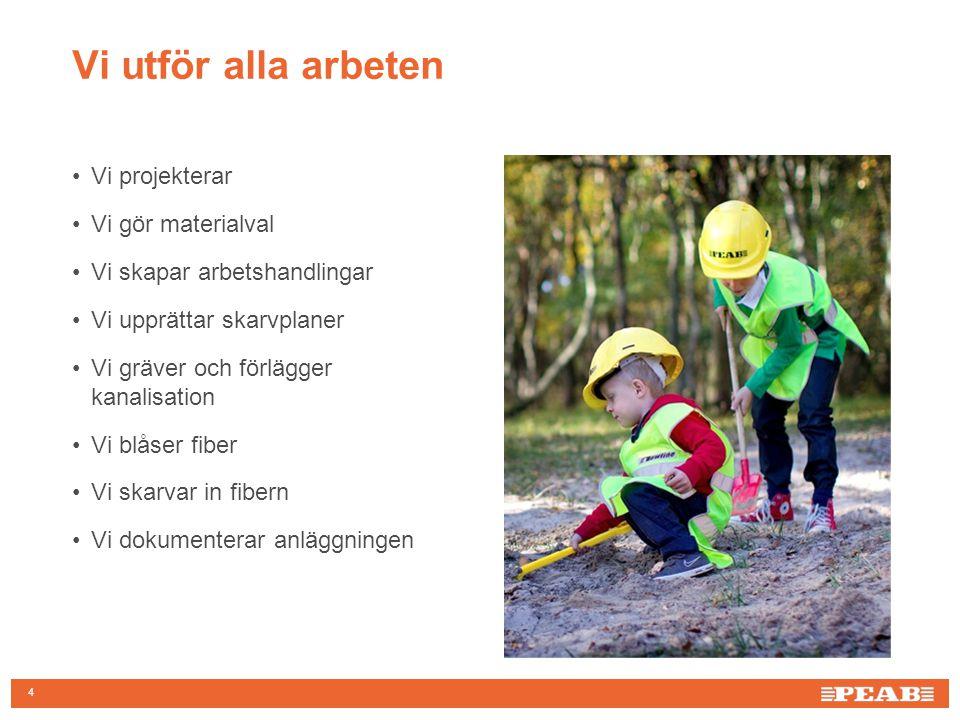 4 Vi utför alla arbeten Vi projekterar Vi gör materialval Vi skapar arbetshandlingar Vi upprättar skarvplaner Vi gräver och förlägger kanalisation Vi