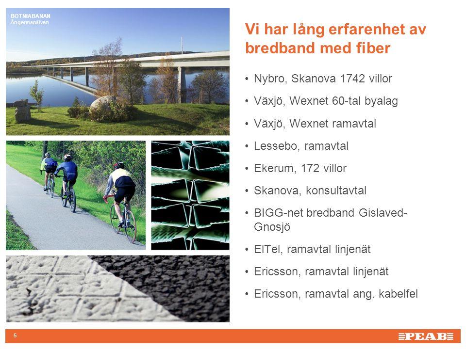 BOTNIABANAN Ångermanälven 5 Vi har lång erfarenhet av bredband med fiber Nybro, Skanova 1742 villor Växjö, Wexnet 60-tal byalag Växjö, Wexnet ramavtal Lessebo, ramavtal Ekerum, 172 villor Skanova, konsultavtal BIGG-net bredband Gislaved- Gnosjö ElTel, ramavtal linjenät Ericsson, ramavtal linjenät Ericsson, ramavtal ang.