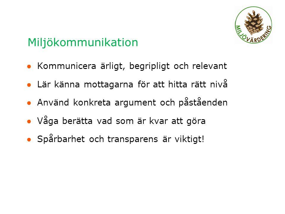 Miljökommunikation ● Kommunicera ärligt, begripligt och relevant ● Lär känna mottagarna för att hitta rätt nivå ● Använd konkreta argument och påståen