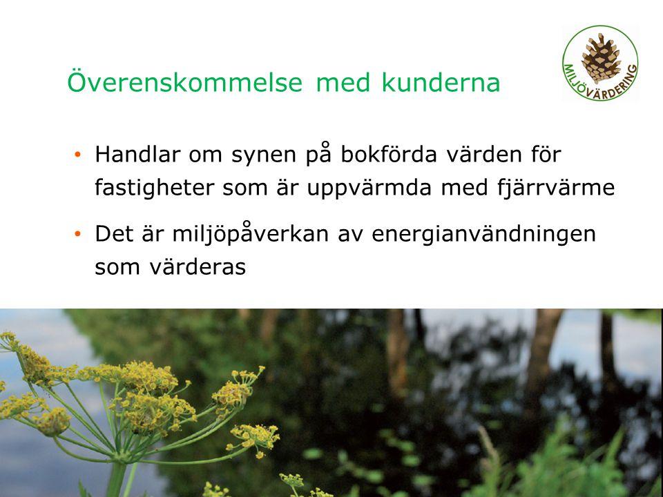 Överenskommelse med kunderna Handlar om synen på bokförda värden för fastigheter som är uppvärmda med fjärrvärme Det är miljöpåverkan av energianvändn