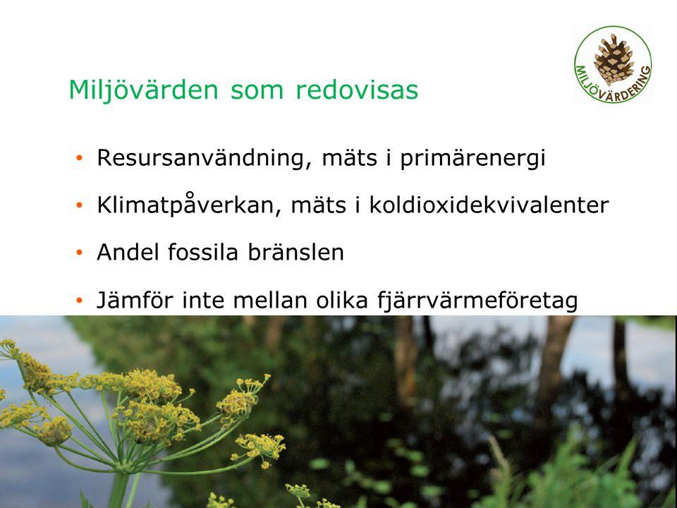 Miljövärden som redovisas Resursanvändning, mäts i primärenergi Klimatpåverkan, mäts i koldioxidekvivalenter Andel fossila bränslen Jämför inte mellan olika fjärrvärmeföretag Regionalt möte Älvsbyn 2011, Charlotta Abrahamsson 4