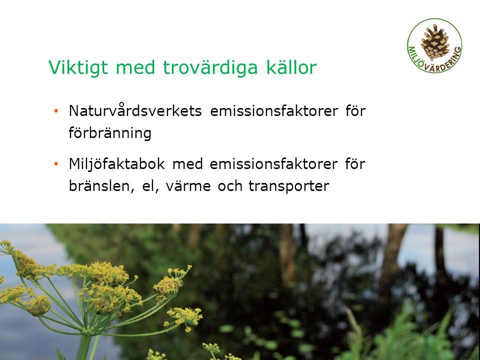 Viktigt med trovärdiga källor Naturvårdsverkets emissionsfaktorer för förbränning Miljöfaktabok med emissionsfaktorer för bränslen, el, värme och tran