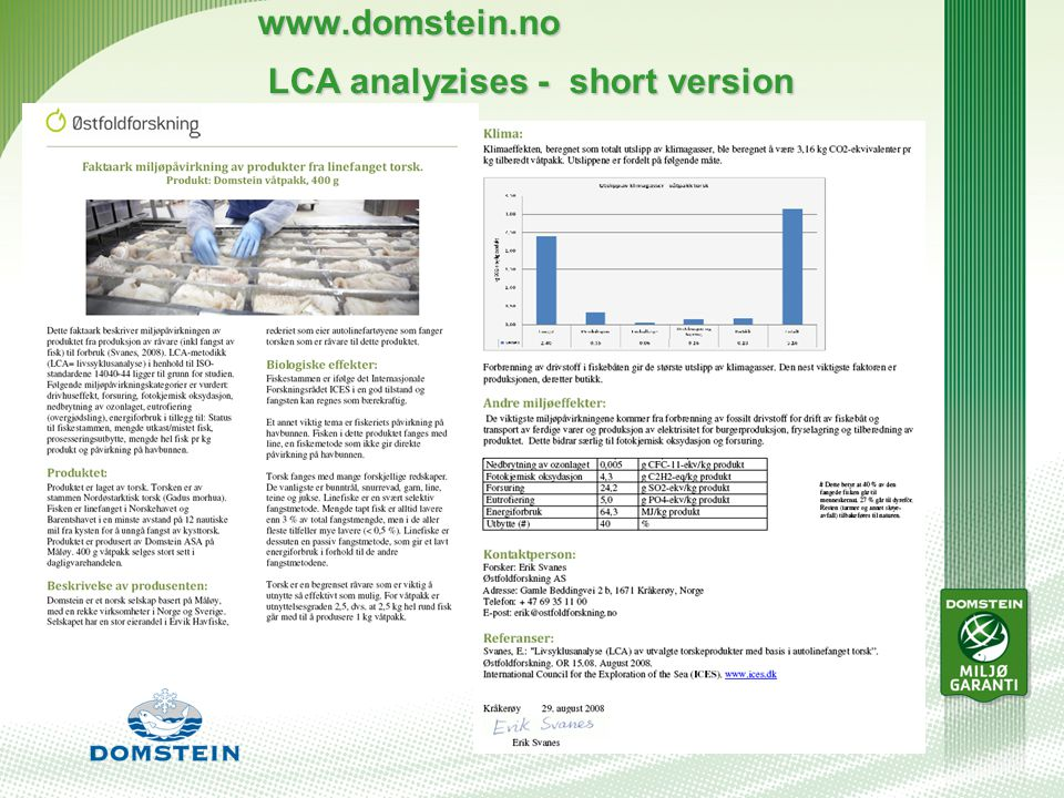 www.domstein.no LCA analyzises - short version