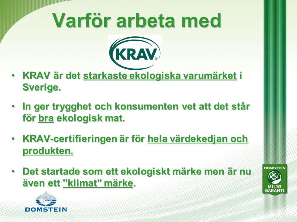 Varför arbeta med KRAV är det starkaste ekologiska varumärket i Sverige.KRAV är det starkaste ekologiska varumärket i Sverige.